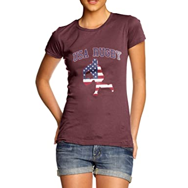 TWISTED ENVY Damen T-Shirt USA Rugby Print Small Burgund