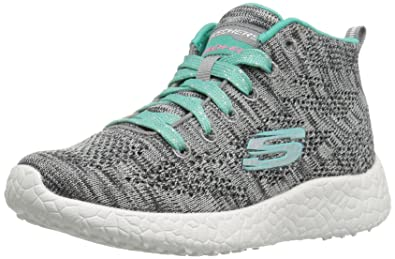 Skechers Kids Girls' Burst-Divergent Running Shoe,Gray/Aqua,