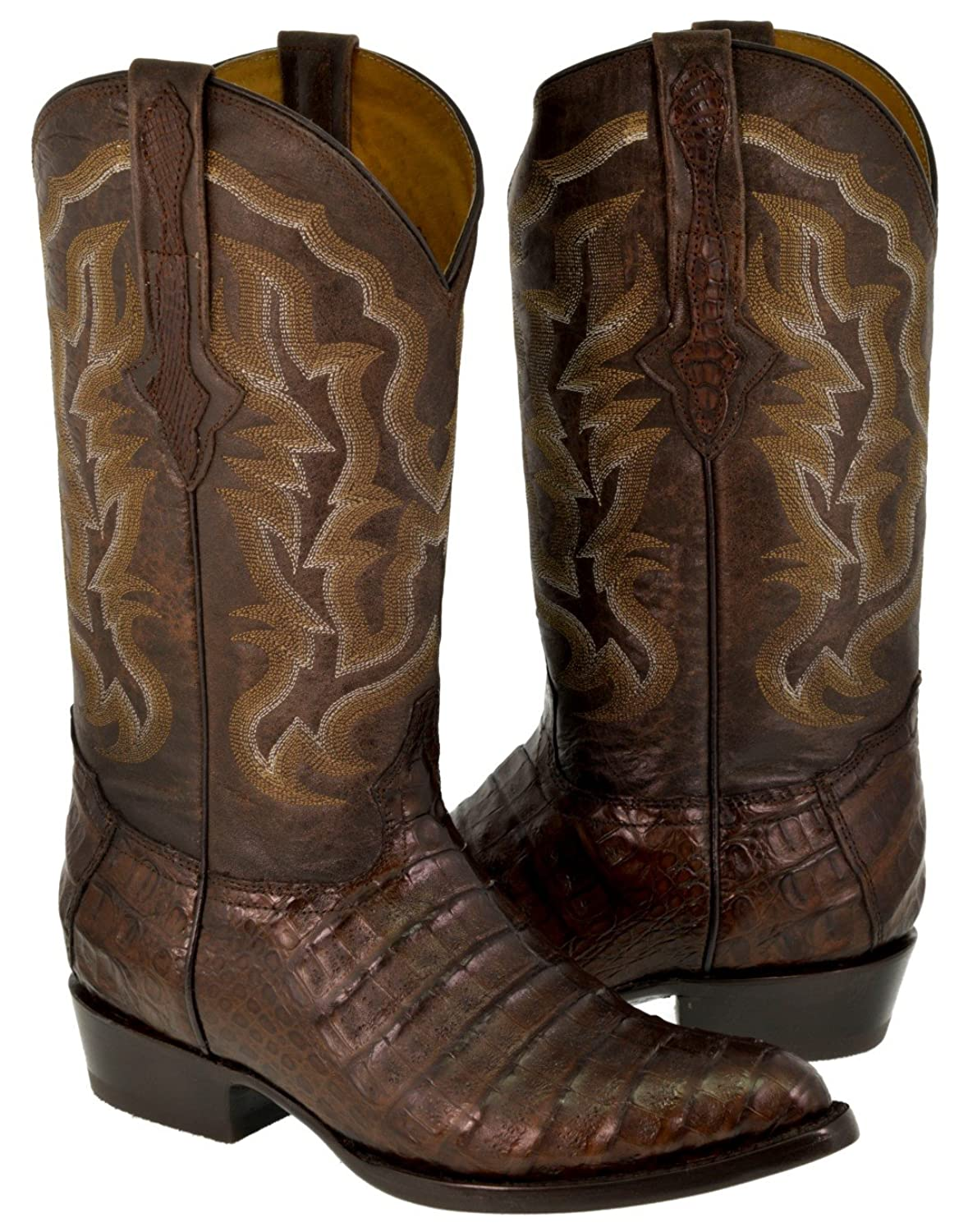 Men's Brown Real Crocodile Skin Leather Cowboy Boots J Toe 13.5 D