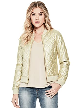 GUESS Factory Women's Geena Faux-Leather Bomber Jacket at Amazon ...