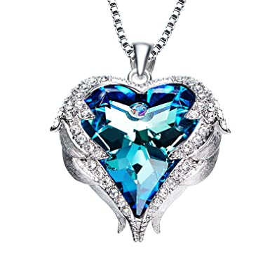 RJewellery Necklace Jewellery Gift for Women Mum Girlfriend Sterling Silver Chain Pendant Timeless Love (Blue Heart) NW6NXwHot