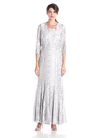 Alex Evenings Women&39s Long Gown with Lace-Paneled Skirt and Bolero