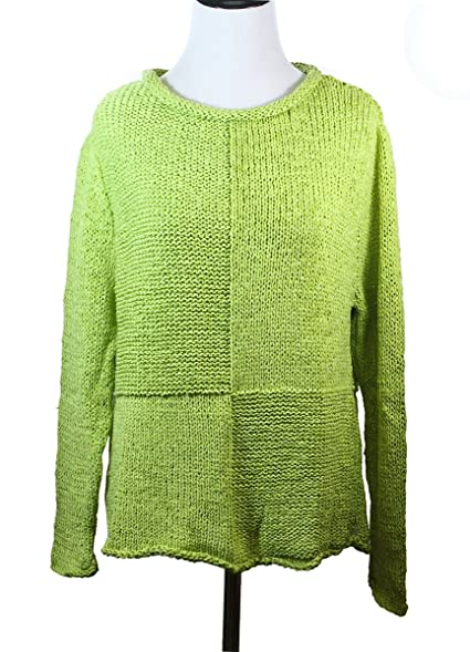 Pure Handknit Womens Camp Pullover Lime Green Cotton Knit Sweater ...