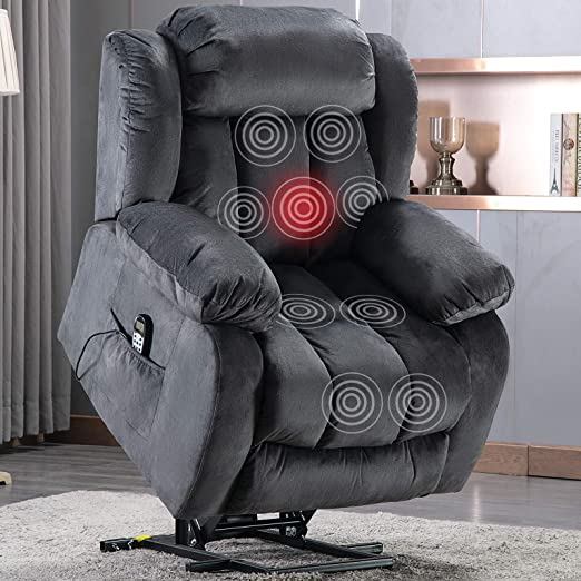 ANJ Power Massage Lift Recliner Chair with Heat & Vibration for Elderly, Heavy Duty and Safety Motion Reclining Mechanism Antiskid Fabric Sofa