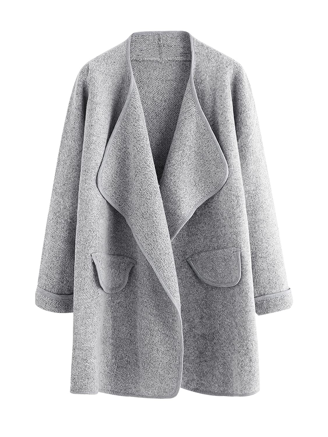KUBITU Womens Shawl Collar Pocket Open Front Wool Long Cardigan ...