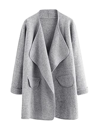 SheIn Women's Long Sleeve Cardigan Open Front Loose Sweater Coat ...
