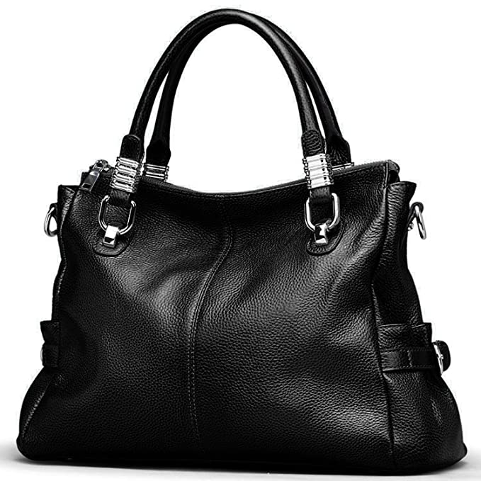 Yaluxe Exquisite Women Ladies' Genuine Leather Tote Bags Satchel Shoulder  Handbag (Black): Amazon.co.uk: Shoes & Bags