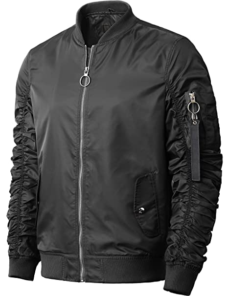 : Hat and Beyond Mens Ruched Bomber Jacket