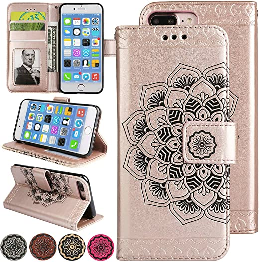 iPhone 6s Plus Case Flip iPhone 6 Plus Case [Kickstand and Card Holder Slots] Leather Magnetic Wallet Cover [3D Embossed Mandala Flower] for Apple ...