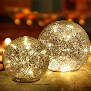 Mercury Crackle Glass Ball Lights ,2 Pack (5.7 in & 4.5 in) Sphere Night Light Battery Operated Ball lamp for Christmas Bedroom Decoration Birthday Gift Warm White