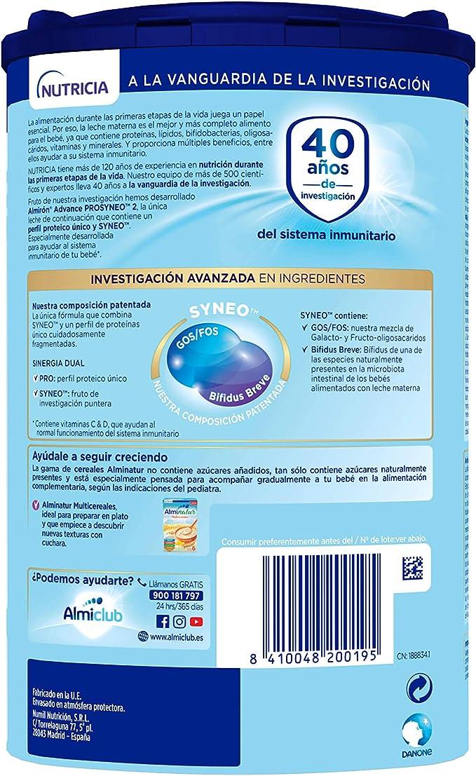 Almirón Prosyneo 2 Leche de Continuación en Polvo Desde Los 6 Meses, 800g