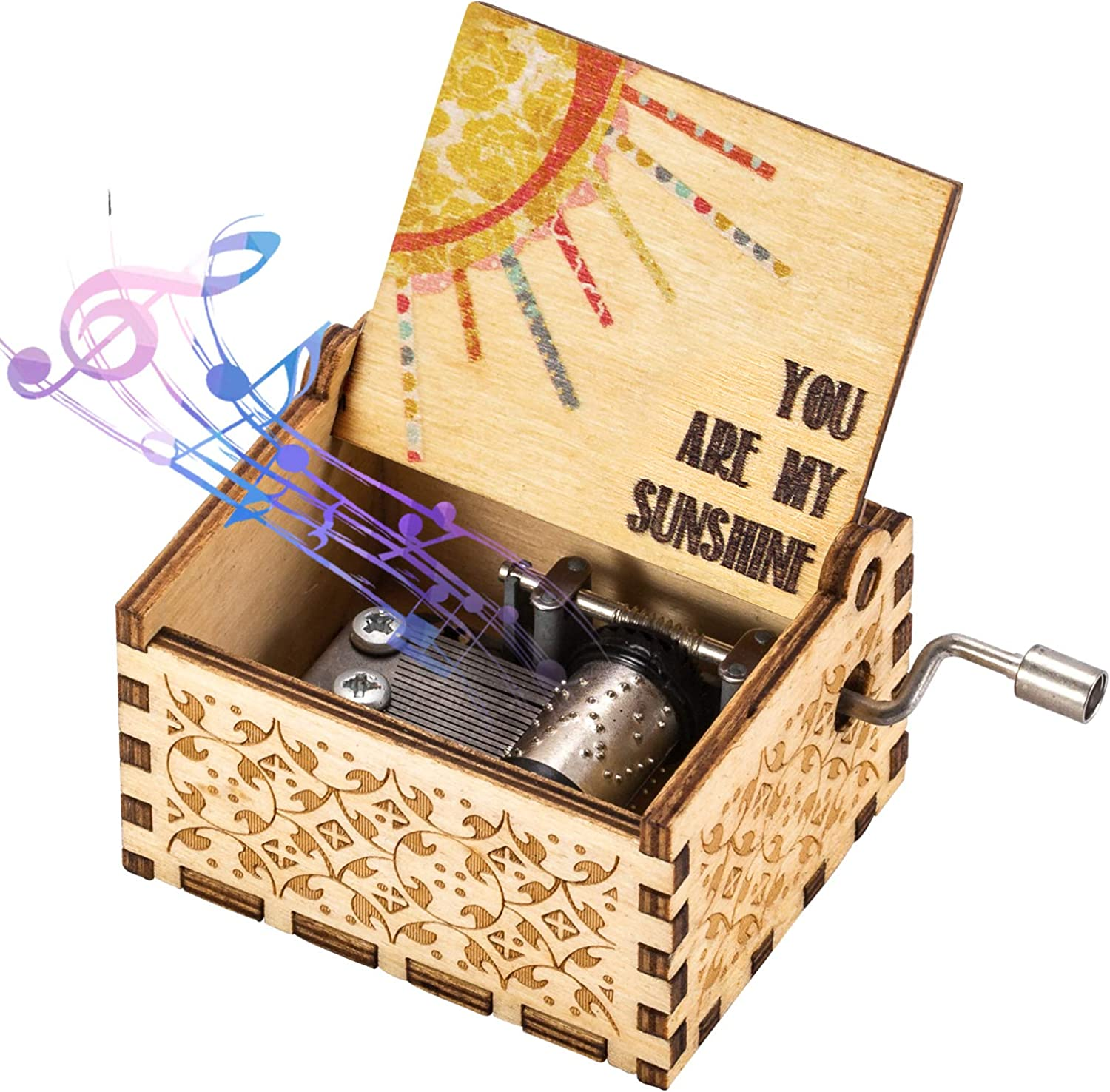 ASZKJ Wood Music Box, You are My Sunshine Manual Wooden Laser Engraved Vintage Music Box Great Gift for Birthday, Christmas, Valentine's Day