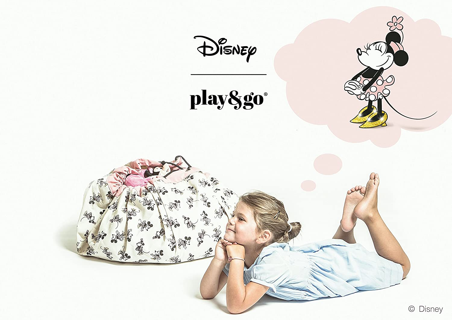 Play&Go Disney Children Designer Play Mat and Toy Organizer Storage 55 Bag - Portable Container for Storing Kids Toys - Minnie Gold 49984