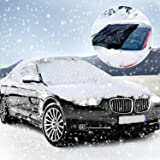 Windshield Cover Protector, KOROSTRO Windshield Snow Cover for Winter Snow Removal Magnetic Anti Ice Frost Dust and Windproof Protection Folie for Most Vehicle(Universal, 183 x 116 cm)