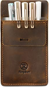 RingSun Pocket Protector, Leather Pen Pouch Holder Organizer, Full Grain Leather Heavy Duty Pen Holder Pouch for Shirts,Hold 6 Pens, Pocket Protectors for Pens and Pencils,RS25