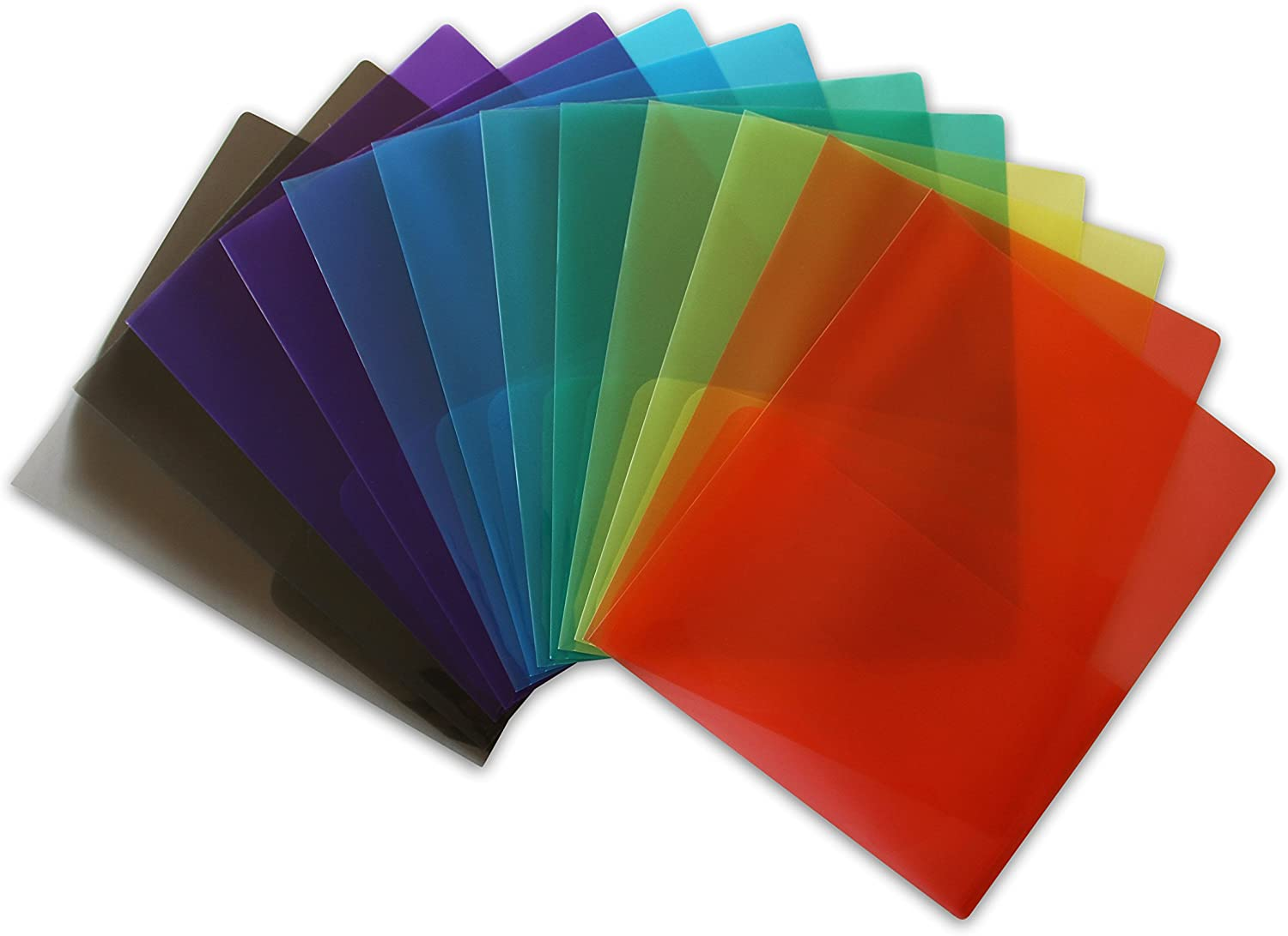 ... Pack of 6 Assorted Colors STEMSFX Clear Lightweight Plastic 2 Pocket Folder