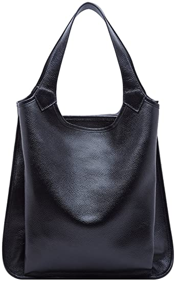 38e2160574e BOYATU Womens Tote Real Leather Handbag for Ladies Large Capacity Shoulder  Purse (Black)