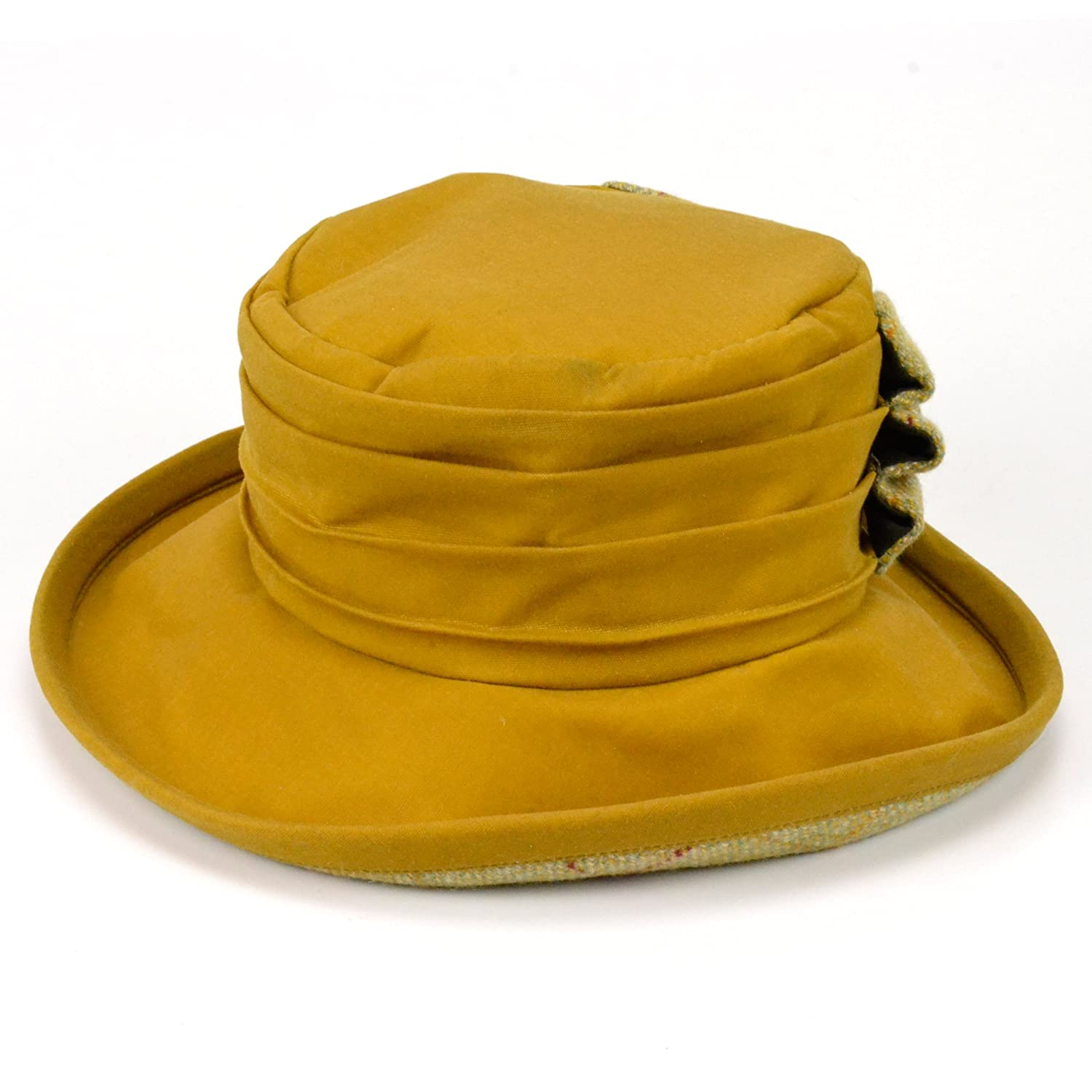 ANTHONY GRAHAM Ladies yellow wax brim hat with large tweed bow and lining