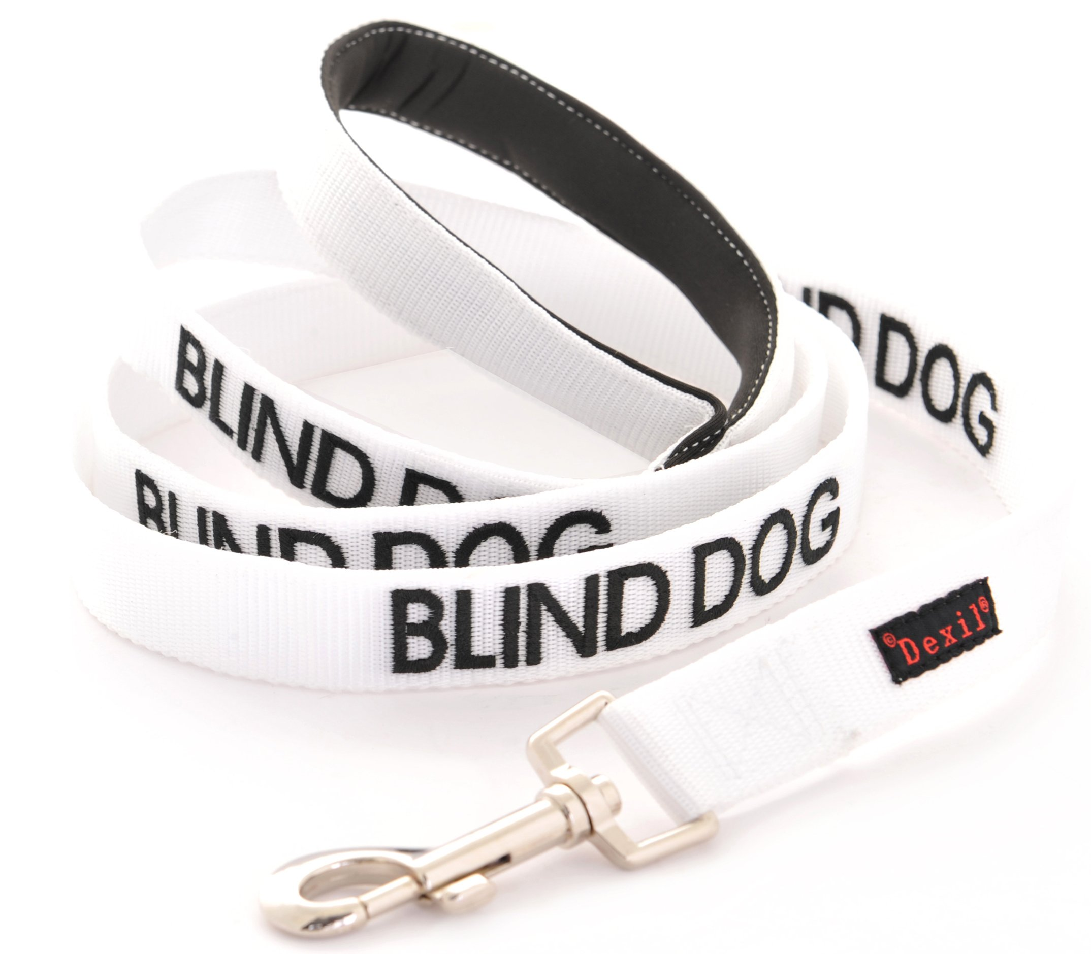 BLIND DOG White Color Coded Alert Warning 2 4 6 Foot Padded Dog Leash (No/Limited Sight) PREVENTS Accidents By Warning Others of Your Dog in Advance (Standard Leash)