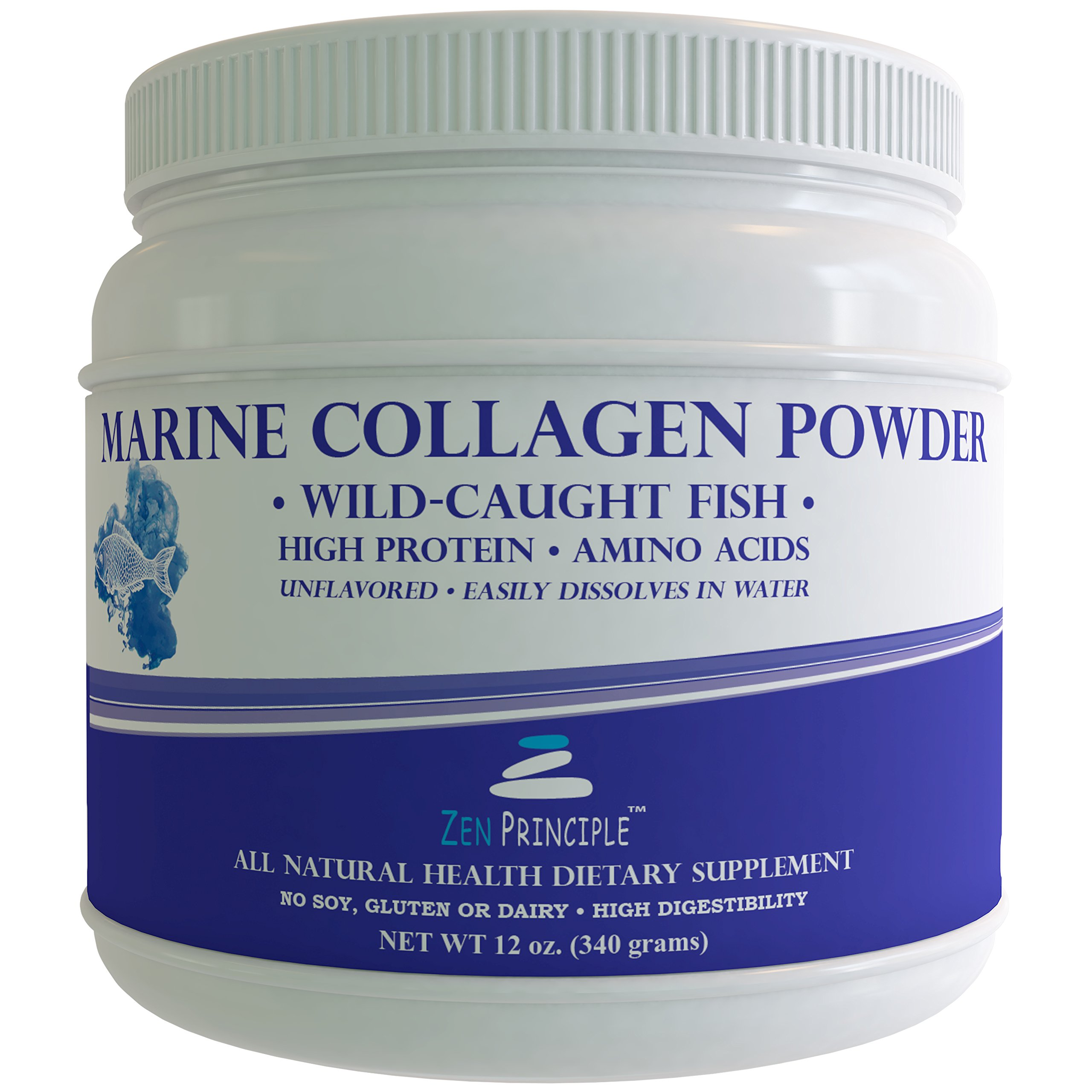 LARGE 12 Oz. Marine Collagen Peptide Powder. Wild-Caught Fish, Non-GMO. Supports Healthy Skin, Hair, Joints and Bones. Hydrolyzed Type 1 & 3 Protein. Amino Acids, Unflavored, Easy to Mix. FREE scoop!
