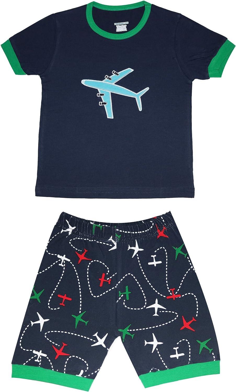 Size:2-10 Years Babylike Dinosaur Boys and Girls Shorts 2 Piece Pajama 100/% Cotton