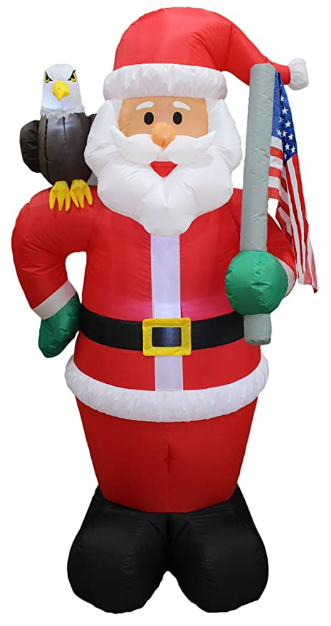6 foot tall lighted christmas inflatable patriotic santa claus with eagle and american flag yard art