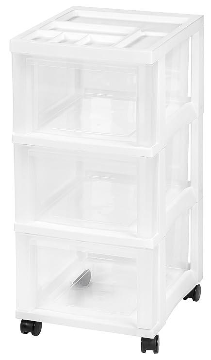 IRIS 3 Drawer Rolling Storage Cart With Organizer Top, White