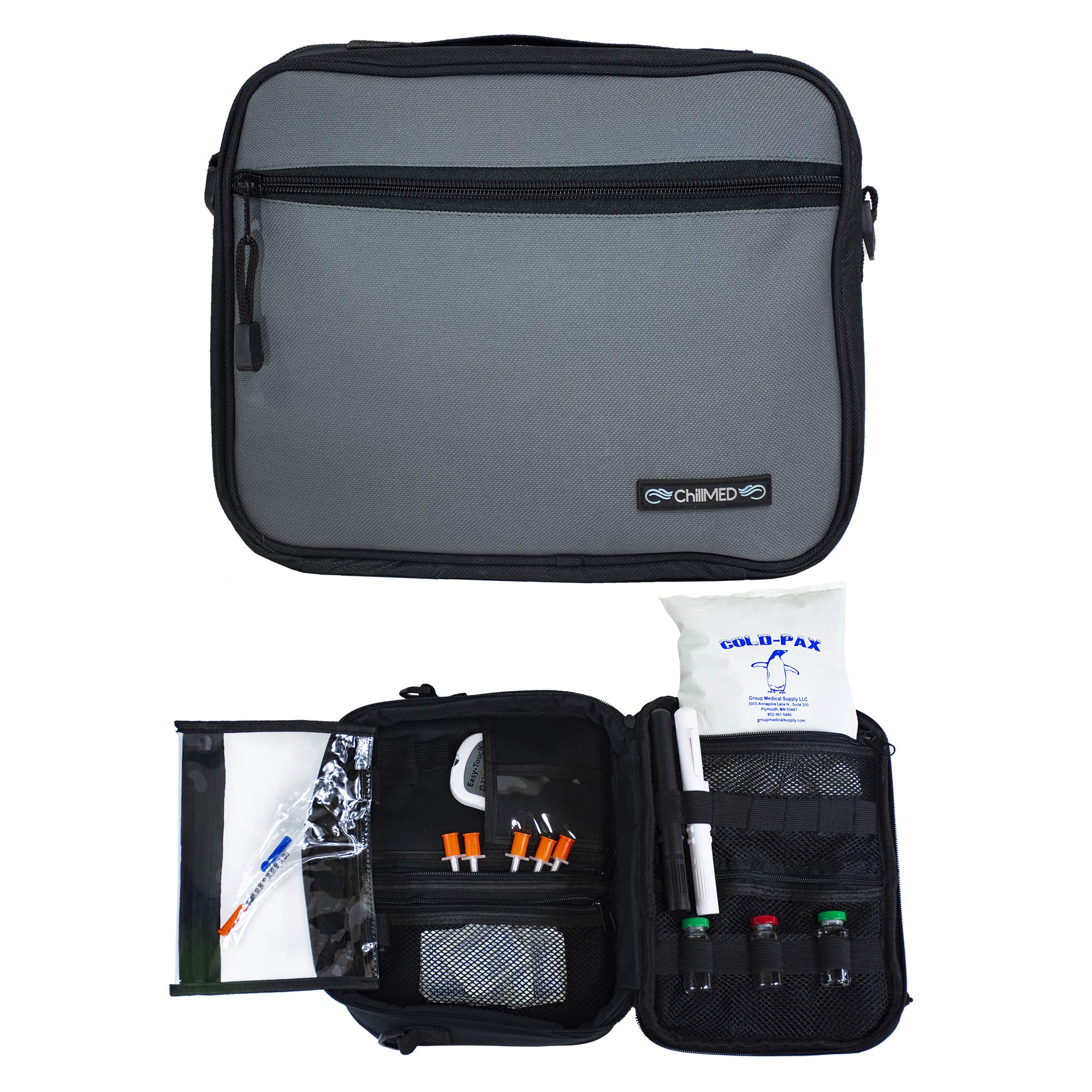 Premier Diabetic Travel Bag with Shoulder Strap & One 24 oz Cold Pack for 24 Hours Cold Time - 11'' x 9'' x 3''