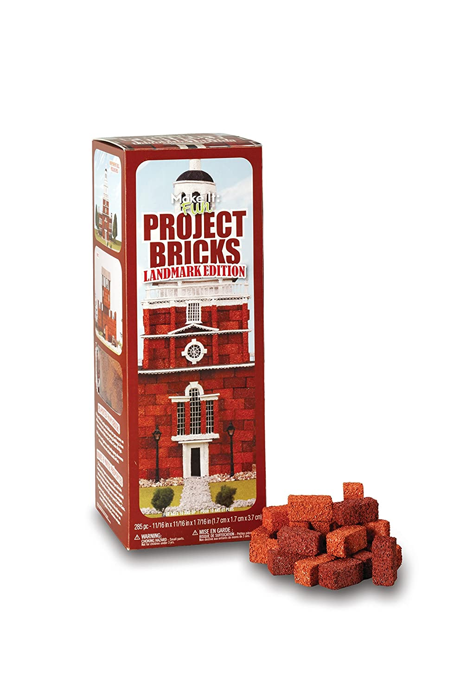 FloraCraft Styrofoam Kit 285 Piece Project Bricks Landmark Edition 0.6 Inch x 0.6 Inch x 1.4 Inch Red BBKITLE/12