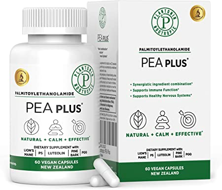 Plantonin Pea Plus - Palmitoylethanolamide for Joint Pain Relief - Pea Supplement with Luteolin Enzogenol Phosphatidylserine & Pyrroloquinoline - Anti-Inflammatory - Vegan - from New Zealand - 60 Caps