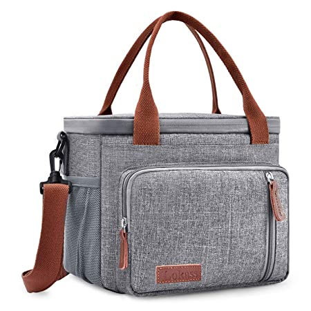 LOKASS Cooler Bag Nylon Insulated Lunch Bag Wide Open Lunch Box Leak-Proof Cooler Box Thermal Cooler Tote with Removable Shoulder Strap for Picnic Fishing Beach Men Women Grey