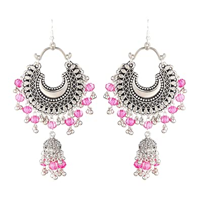 3da64e988 Buy Foxy Trend Afghani Silver Oxidised Dangle Chandbali Earrings Fancy  Stylish Party Wear for Women Online at Low Prices in India | Amazon  Jewellery Store ...