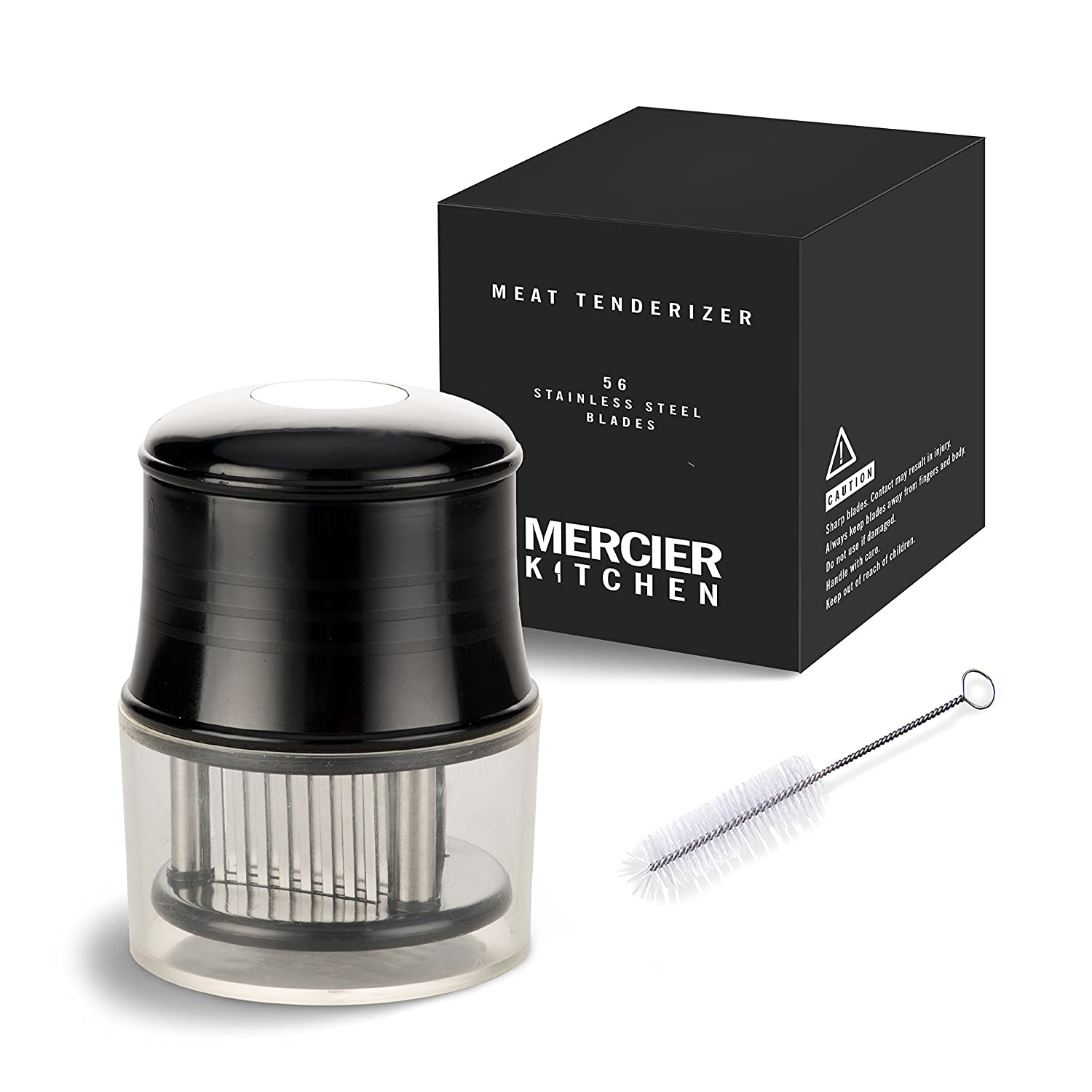 MERCIER Professional Needle Meat Tenderizer - 56 Stainless Steel Blades - For Steak, Chicken, Fish and Pork + Cleaning Brush MERCIER KITCHEN MERCIER-MEAT-TENDERIZER
