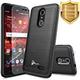 ZTE Blade Spark Case (Z971), ZTE ZMax One (Z719DL), ZTE Grand X4 (Z956) w/ [Tempered Glass Screen Protector], NageBee [Carbon Fiber Brushed Metal Texture] Heavy Duty Defender [Dual Layer] Case -CBBK