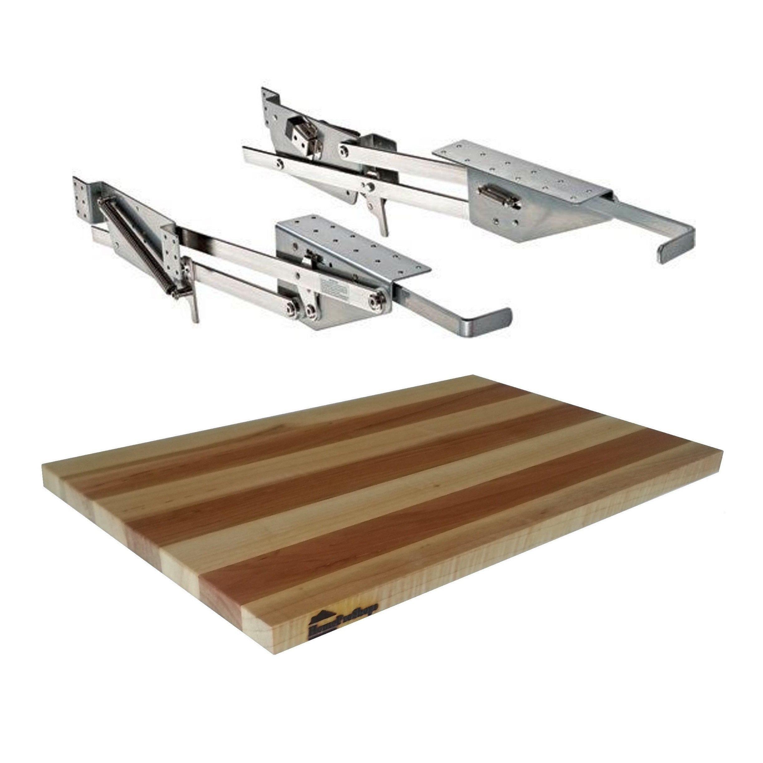 Rev-A-Shelf - RAS-ML-HDCR - Full Height Base Cabinet Heavy Duty Mixer Lift - Includes 3/4'' x 12'' x 19'' Shelf Platform for 18'' width Base Cabinet - Maple Butcher Block - Trimmable