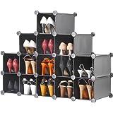 VonHaus 16x Interlocking Storage Shelves - Charcoal Black | Make into Any Size and Shape | Organise Clothing, Shoes, Toy
