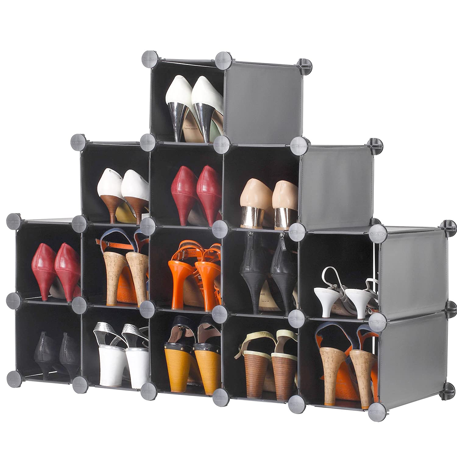 tiers with storage closet shoe gearshunger cover rack cabinet best fabric com organizer songmics portable dark
