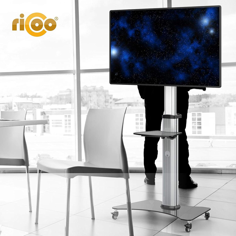 RICOO Meuble sur Pied TV roulettes Design FS07XL Support en Verre Colonne LED LCD Plasma QE OLED Smart Socle de Tele /écran Original Meubles t/él/éviseurs Rack VESA 600x400 Universel Hauteur r/églable