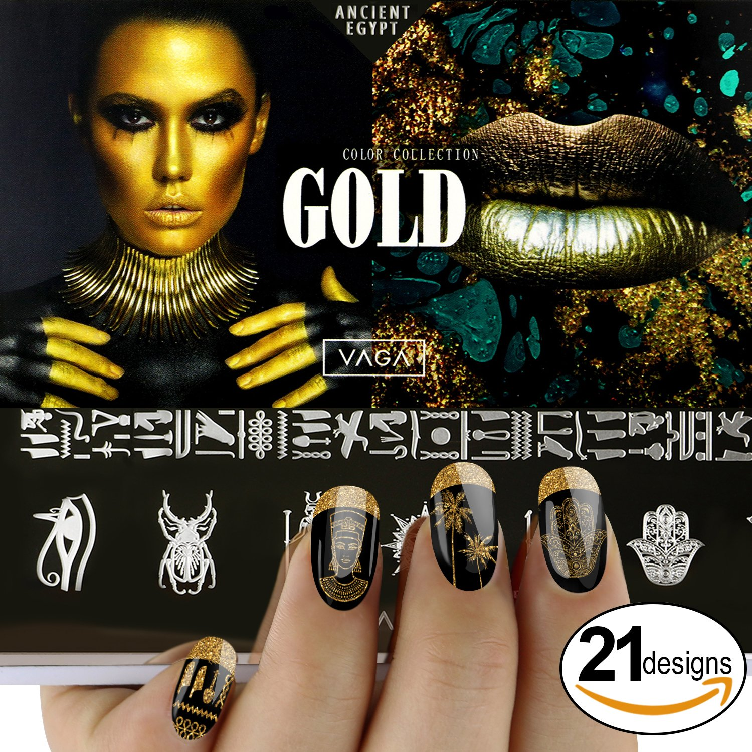 VAGA Ancient Egypt Motives Metal Nail Art Stamping Designs Plate with Images and Pictures for Manicure Stamps Transfers