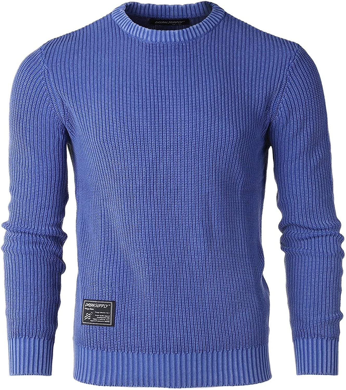ZIMEGO Men's Classic Vintage Color Wash Ribbed Crew Neck Pullover Casual Sweater