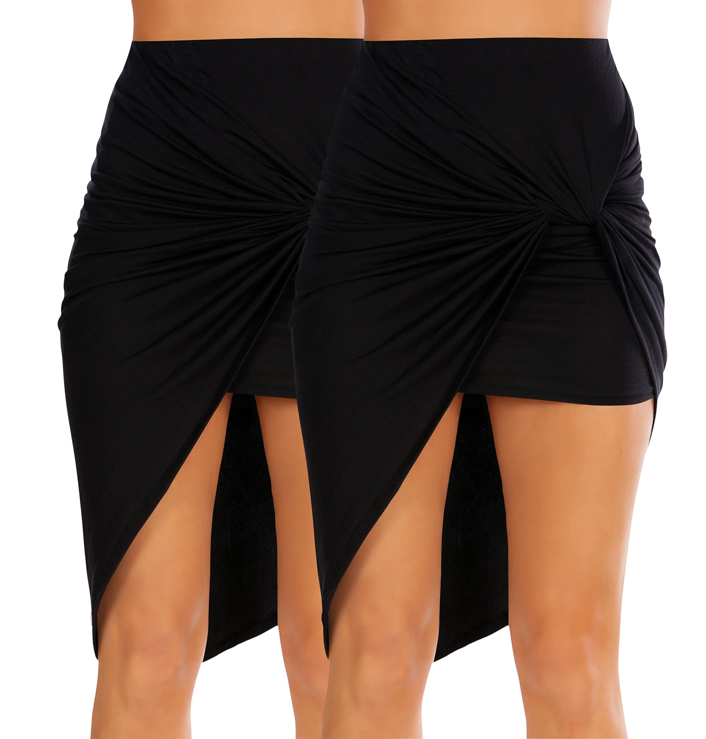 Womens Drape Up Stretchy Asymmetrical High Low Short Mini Bodycon Pencil Skirt (Size XX-Large, 2 Pk Black/Black)