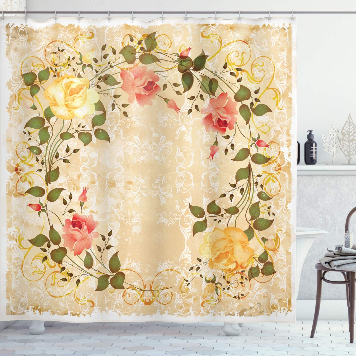 Cloth Shower Curtain Easy to Use Machine Washable Bathroom Decor by Ambesonne