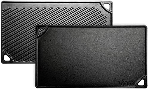 Lodge Reversible Grill and Griddle Combo. Double-Sided Cast Iron Pan with Smooth Side and Ribbed Side.