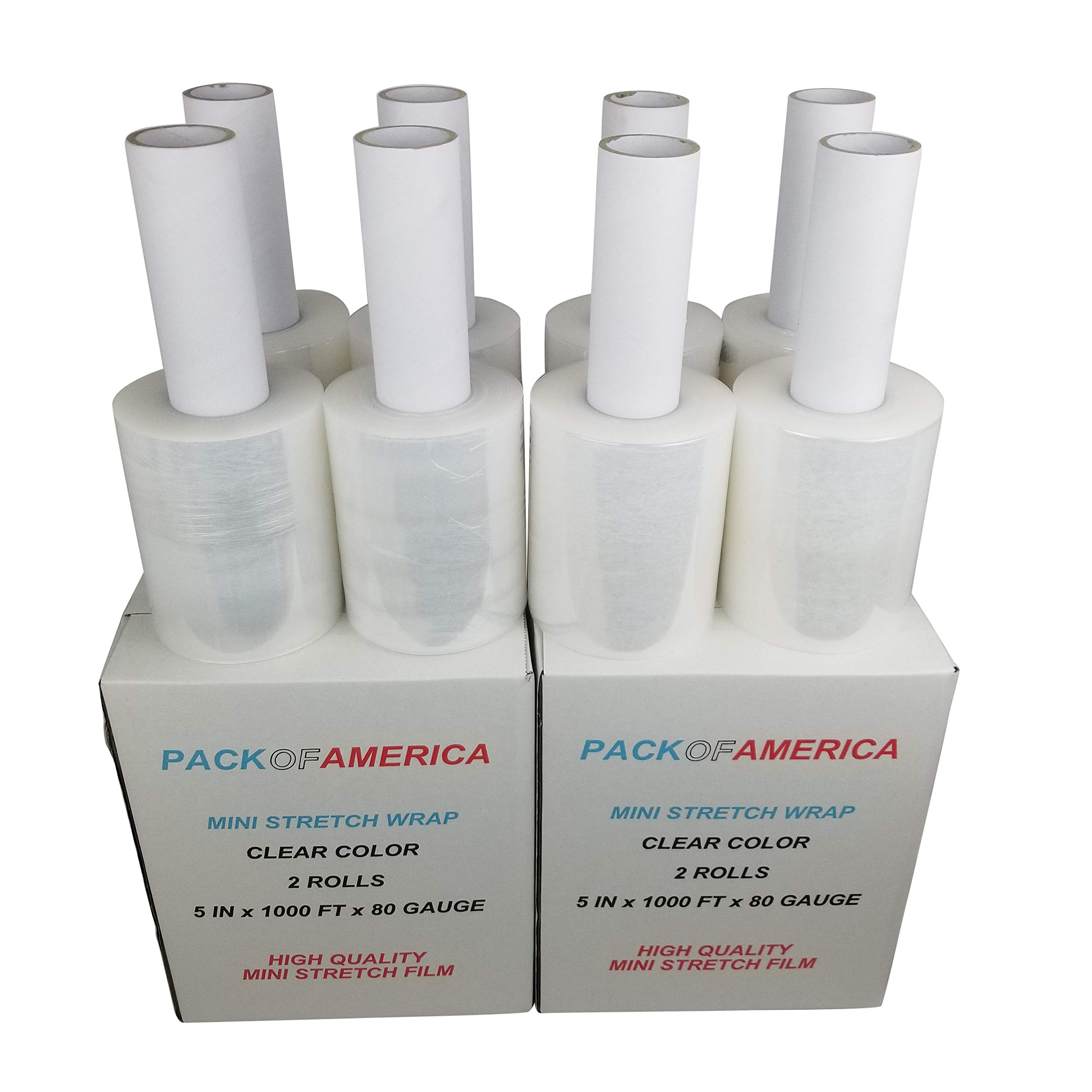Pack of America | 5'' x 1000 ft (8 Pack) Mini Stretch Wrap Film with Carton Handle | 80 Gauge Clear Plastic Shrink Wrap | Moving Supplies | Industrial Strength Hand Cling Wrap for Bundling and Wrapping by Pack of America