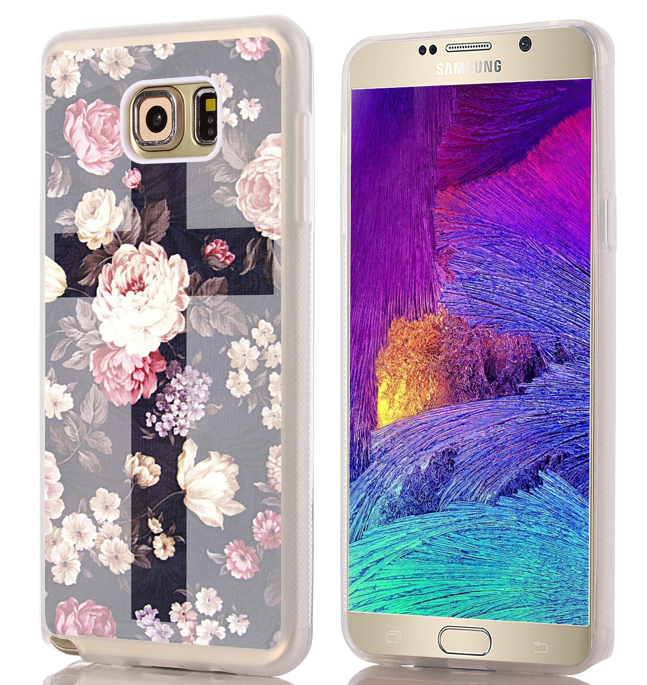 check out 28649 f45c9 Note 5 Case Cross Design - Case for Galaxy Note5 - Protector Cover for  Samsung Note 5 - Flower Unique Designer Slim Pattern (Slim Flexible TPU ...
