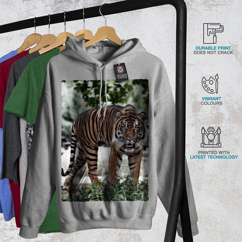 Danger Hooded Sweatshirt wellcoda Tiger Wild Nature Mens Hoodie