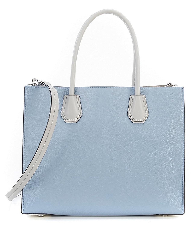 20d240451e67 MICHAEL Michael Kors Mercer Large Color-Block Leather Bag, Pebble Pale Blue  White Aluminium: Handbags: Amazon.com