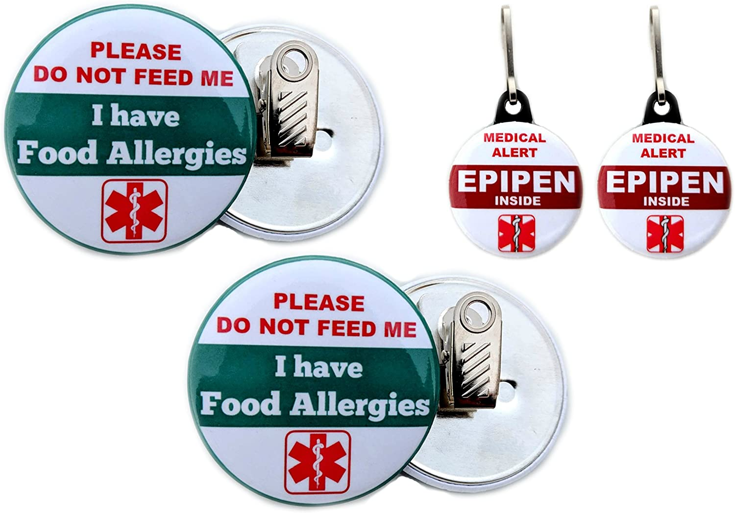 "Epipen Inside Bag Tag 1.25"" 2pcs/ Food Allergies Button Clip back 2.25"