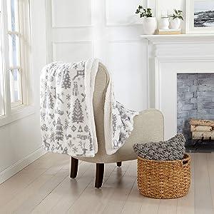 Decorative Holiday Throw Blanket. Super Soft Fleece Sherpa Holiday Throw Blanket. Eve Collection (50