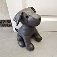 Leatherette Animal Door Stopper Doorstops Book Stopper Wall Protectors Anti Collision Decorative Dog (Grey)